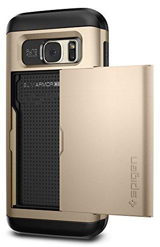 Spigen Custodia Galaxy S7, [Slim Armor CS] Galaxy S7 Card Holder [Champagne Gold] Slim Fit Dual Layer Protective con Card Slot Holder Wallet per Samsung Galaxy S7 (2016) - (555CS20017)