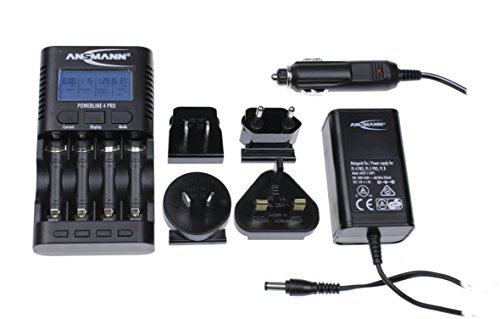 ANSMANN inkl. 4 x AA Ladegerät mit World Traveller Stecker Powerline 4 Pro