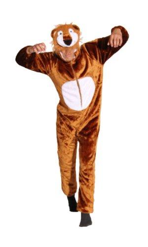 Foxxeo Premium Plüsch Löwen Kostüm für Erwachsene Damen und Herren Tierkostüm Overall Jumpsuit Größe ()