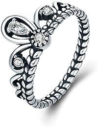 HCBYJ Anillo 925 Anillo de Dedo apilable de la Corona de la Princesa de Plata esterlina para la joyería de la Boda del…
