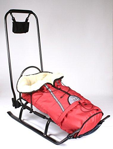 3in1bambini slitta con schienale, Sacco a pelo, spinta Maniglia e Tracolla in alluminio, Graphite/Red
