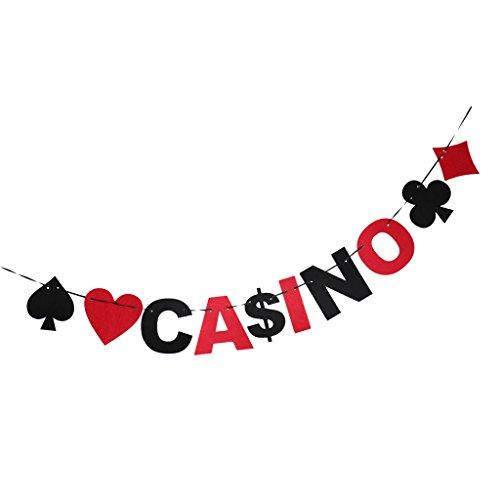Baoblaze Casino Buchstabe Poker Girlande Wimpelkette Banner Spielkarten Poker Filz Schwarz Rot Party Deko