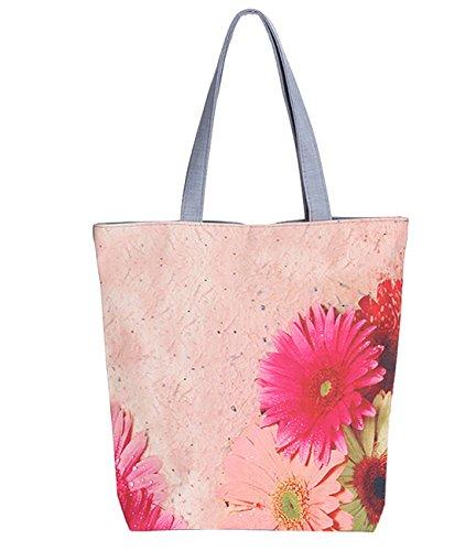 Minetom damen Umhängetasche Totepack Handtasche Tasche Elegant SCHULTERTASCHE mode Einkaufen Leinen Reisen Blumen gedruckt Strand bag Rosa One Size