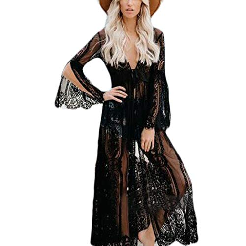 Watermk Womens Slit Long Flare Ärmel Kimono Cardigan Schiere Wimpern Floral Lace Bikini vertuschen Belted High Waist Maxi Long Beach Robe - Lace Dress Belted