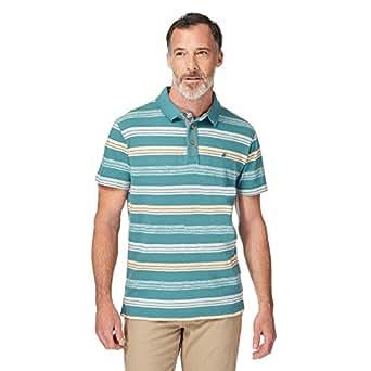Mantaray mens dark green striped polo shirt mantaray for Dark green mens polo shirt