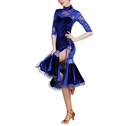 Kostüm Klassischen Tanz Indischen - Yinglihua Bauchtanz Kleid High-Neck langärmelige Lace Stitching Latin Dance Dress Gesellschaftstanz Kostüm-Set Damentanzkostüm (Farbe : Blau, Größe : XL)