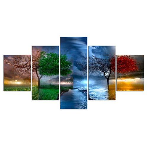 Agreey 5 Stücke Landschaft 4 Jahreszeiten Leben Kreis bäume Leinwand Malerei Wandkunst Modulare Bild Moderne Dekorative Gemälde, Kein Rahmen, 20X35 20X45 20X55 cm -