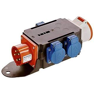 as - Schwabe MIXO Adapter / Stromverteiler BRIGACH –  CEE-Stecker auf 5-polige CEE-Steckdose + 3 Schuko Steckdosen – Robuster Baustellen Starkstrom-Verteiler – IP44 – Made in Germany I 60520