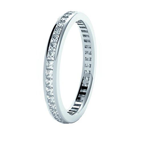 0,60Karat Prinzessin Diamanten Kanal-Set Half Eternity Ring in 18K Weiß Gold