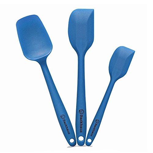 Backhaus ® set spatole e cucchiaio in silicone platino antiaderente con nucleo in acciaio, 3 utensili da cucina di qualità professionale resistente al calore, blu