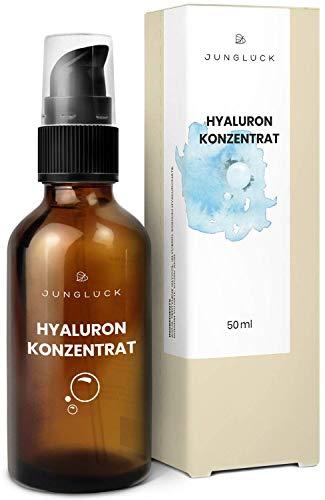 Junglück veganes Hyaluronsäure Konzentrat in Braunglas - hochdosiertes Hyaluron Serum - Anti-Aging...