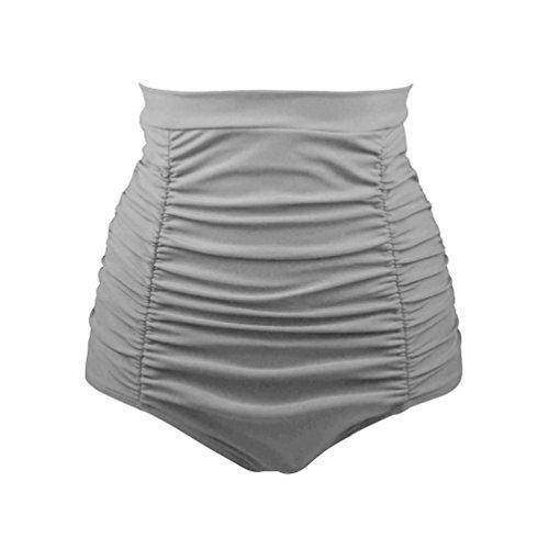 YoungSoul Vintage 50er Rockabilly Kariert Bademode Bikinislip mit Raffung  Formende Bikinihose mit hohe Taille für Damen Grau