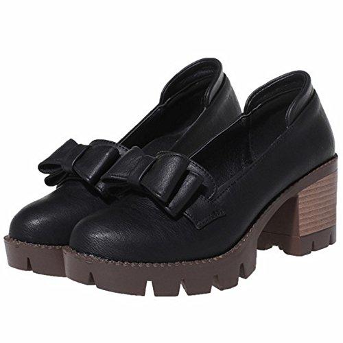 COOLCEPT Femmes Mode Slip On Court Chaussures Bout Ferme Escarpins Bloc Chaussures With Bowknot Noir