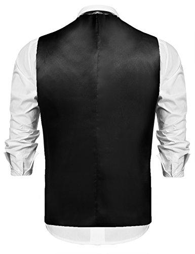 Hasuit Herren Anzugweste Einreiher Fünf Knöpfe Weste mit Stoffdruck Schwarz