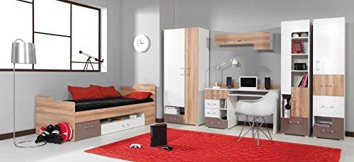 """Jugendzimmer – TV – Unterschrank """"Lian"""" 11, Hellbraun / Weiß / Cappuccino – Abmessungen: 125 x 62 x 50 cm (B x H x T) - 6"""