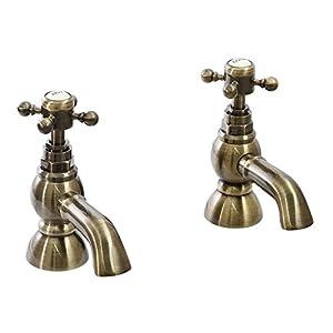 ENKI BELGRAVIA Par de grifos para lavabo Estilo vintage Latón bronce envejecido