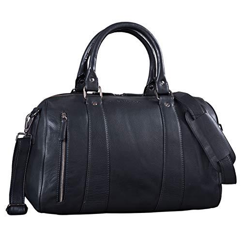 STILORD \'Keanu\' Leder Weekender Herren kleine Vintage Reisetasche zum Umhängen Handgepäck Reisegepäck in Kabinengröße echtes Rindsleder, Farbe:schwarz