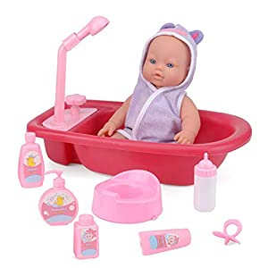 ToyStar Baby Doll Bath Tub Playset, My First Baby Toy, Working Shower To Bathe Her, 7 Accessories For Pretend Play