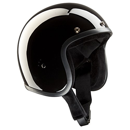 Band-It – Casco Jet semi-integral de moto, modelo clásico, con visera parasol, brillante, color negro, Hombre, Jet glänzend schwarz, glossy black