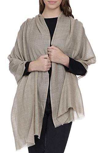 Sciarpa morbido caldo kashmir lana seta da donna chiaro taupe melange