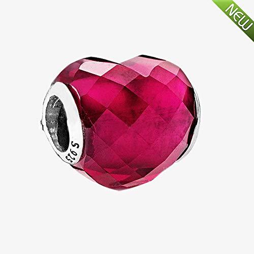 Pandocci 2018 san valentino fuchsia shape of love charm fuchsia rose cuore in cristallo 925 argento fai da te adatto per gioielli con braccialetti di fascino originali