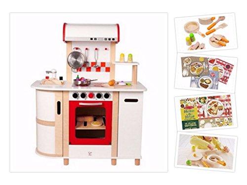 Hape Küchentraum - Komplett-Set: Spielküche aus Holz inkl Küchenzubehör-Starterset und - Puppe-haus-bundle