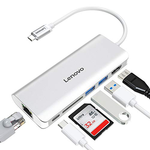 Lenovo USB C Hub, Type C Hub mit HDMI Anschlüsse, Gigabit Ethernet Anschluss, USB C Ladeanschluss, 2 USB 3.0 Anschlüsse, SD Kartenleser, für USB C Geräte (Lenovo Yoga Display-adapter)