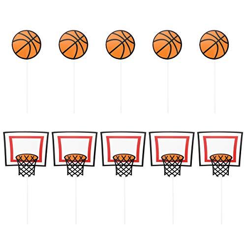 BESTOYARD Basketball Muster Kuchen Topper Sport Party Cupcake Topper Picks Geburtstag Sport Party Dekoration Lieferungen 10 Stücke