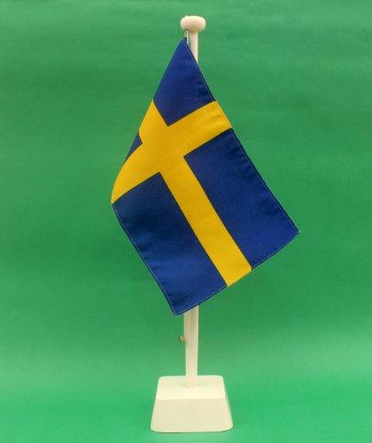 Buddel-Bini Schweden 15x25 cm Tischflagge (W) in Profiqualität, Tischfahne und weisser Tischflaggenhalter aus Holz