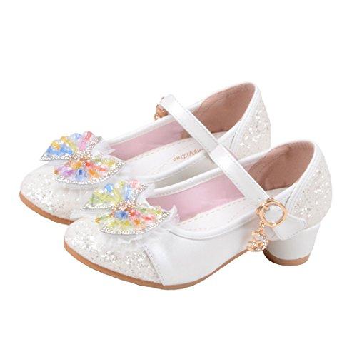 O&N Prinzessin Gelee Partei Absatz-Schuhe Sandalette Stöckelschuhe für Kinder Weiß