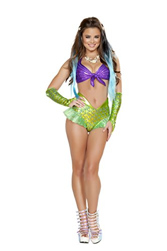 Price comparison product image Roma Women's Ravewear Festival Mermaid Print 2 Piece Set with Shorts and Halter Style Top, Green/Purple, Small
