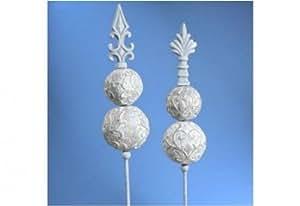 4er-SET Metall-Gartenstecker 2fach sortiert, grau 100 cm
