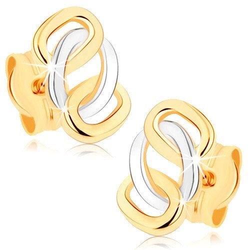 ORDOŠ Two-tone gold 9K diamond earrings, 375 yellow gold earrings, 9K women's gold earrings, glistening interlaced rings, three interlocking oval contours, 0.3g