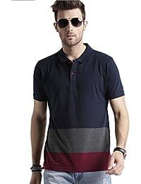 Men s Polo Stripes T-Shirt Navy Blue-Grey   Maroon T-shirt Party wear  (men s polo collar stripes t-shirt for Men s Jeans… 5170c656fa