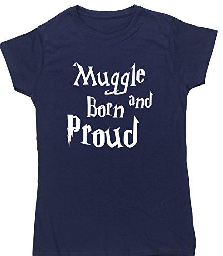 Hippowarehouse Muggle Born und Stolz Damen Fitted Short Sleeve T-Shirt (bestimmte Größenangaben in der Beschreibung) Gr. Medium, Marineblau (T-shirt Fitted Abenteuer)