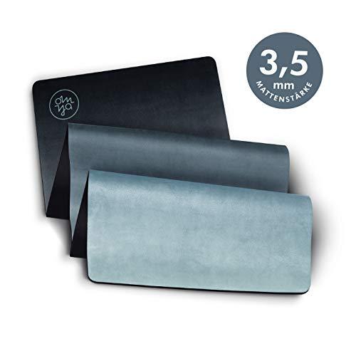 OM YA Design Yogamatte – Rutschfest – extra dick – 3,5 mm – ökologisch aus Naturkautschuk – Oberfläche Mikrofaser – Ideal für Hot Yoga, Bikram, Pilates, Ashtanga