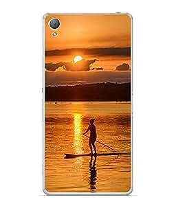 FUSON Designer Back Case Cover for Sony Xperia X :: Sony Xperia X Dual F5122 (Cute girl boat ride in Rivers sea Ocean Arts)