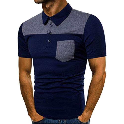 Uomini camouflage maglia casuale corte degli maniche uomini stile semplice sottili tè giornalieri maglietta stampa di svago di modo shirt uomo colore polo (color : marine, size : 3xl)