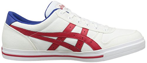 Asics Aaron, Baskets Basses Mixte Adulte Blanc (white/classic Red 0123)