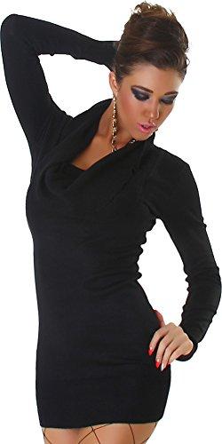... Panacher Damen Strickkleid Kleid Pullover Longpulli  Wasserfall-Ausschnitt Einheitsgröße Schwarz