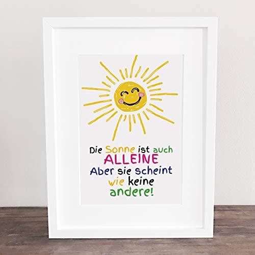 Poster, Wanddeko, Bild, Kunstdruck, Motivation, think positive, shine bright, Liebe, Freundschaft