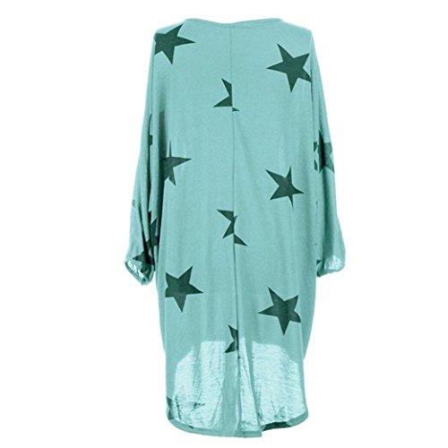UFACE Damen Lady Fledermaus Ärmel Star Print Top Plus Größe Fledermausärmel Stars Print Baggy Tunika Tops Bluse(Himmelblau,EU/48CN/XL)