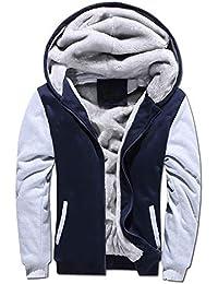 LiGG Herren Kapuzenpullover mit Reißverschluss Langarm Kapuzenjacke Winter Warm Fleece-Innenseite Sweatshirt Plus Dicke Fleecejacke Sweatjacke Mit Kapuze