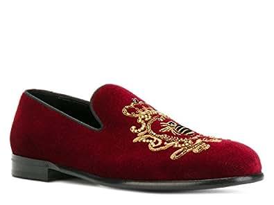 Dolce&Gabbana Mocassini Uomo in Velluto bordò - Codice Modello: A50073 AL305 8B420 - Taglia: 41 EU