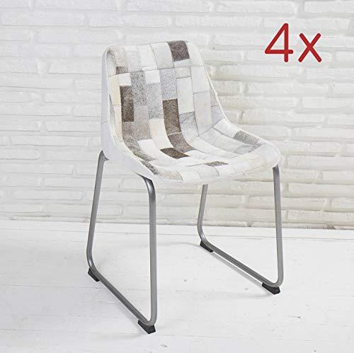 Wholesaler GmbH 4er Set Designer Esszimmerstühle Grau Bezug aus Patchwork Kuhfell Schalensitz Stuhl