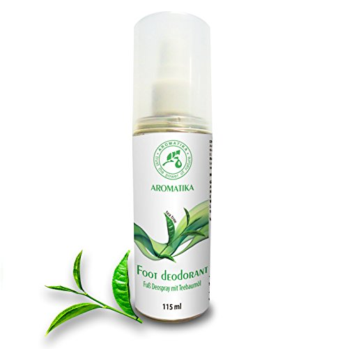 Fußspray mit 100% natürlichem Teebaumöl und Pfefferminzduft, Fussdeo 115 ml, Fußdeospray für Fußpflege und gegen Fußgeruch, Foot Spray von AROMATIKA