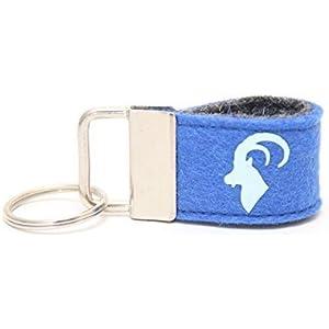 Mini Schlüsselanhänger aus Wollfilz mit Steinbock blau/ dunkelblau