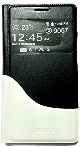 PCM Dual Color S View Leather Flip Cover Case Samsung galaxy Grand 2 - 7102/7106 - Black & White  available at amazon for Rs.399