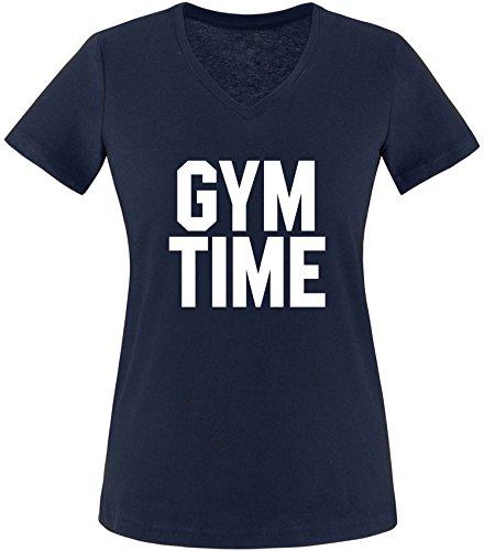 EZYshirt® Gym Time Damen V-Neck T-Shirt Navy/Weiss