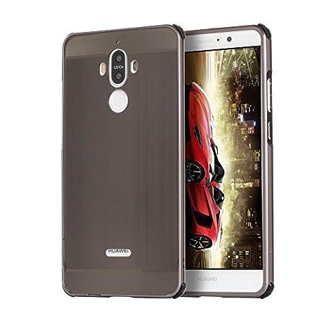 """Coque Huawei mate 9, Etui en premium Aluminium métal miroir, Btduck Luxe Housse 2 en 1(Luxe Stucture en métal Bumper + PC Plastique Arrière Etui)[Étui en Métal Miroir] Anti Choc de Protection Semi-Transparente Coque 2 in 1 Electro Placage Texture Hard Coque Pour Huawei mate 9(5.9"""") + 1X Noir Stylet Touchscreen Pen - Noir"""
